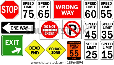 Traffic Road Freeway Highway Signs - stock photo
