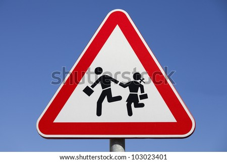 Traffic road sign isolated on a blue sky - stock photo