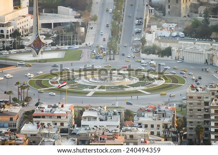 Traffic Roundabout - Damascus - Syria (Before Civil War)