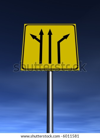 Traffic sign, arrows, directions for driving. - stock photo