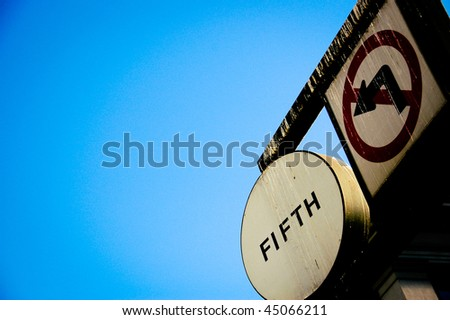 Traffic Sign at 5th Ave, San Francisco, with blue sky background - stock photo