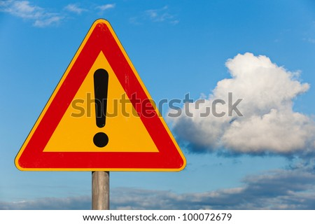 traffic sign attention - stock photo