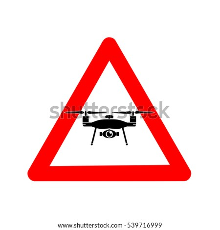Traffic sign, beware of drones flying in the air over white background, illustration