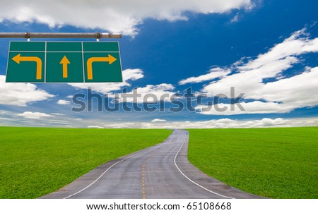 traffic sign board under the blue sky - stock photo