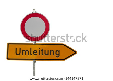 traffic sign dead end isolated on white - stock photo
