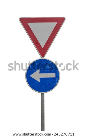 Traffic sign for give way and blue direction sign on white background with clipping path  - stock photo