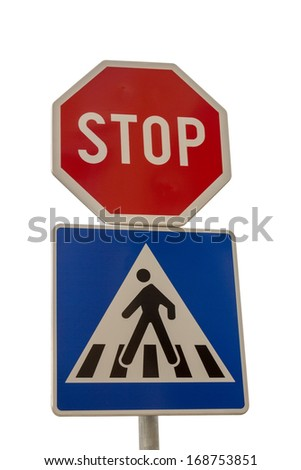 Traffic sign for pedestrian crossing and Stop sign isolated on white background with clipping path  - stock photo