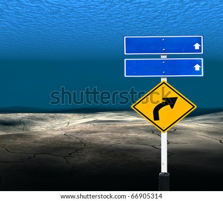 traffic sign in the Underwater - stock photo