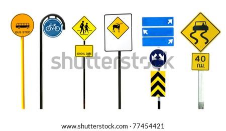 traffic sign isolated on white background - stock photo