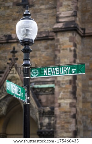 Traffic sign of the famous and fashion New bury street in Boston, Massachusetts, USA. - stock photo