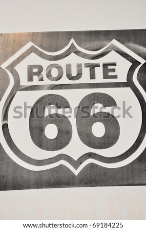 Traffic sign on American highway Historic route 66 - stock photo