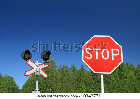 traffic sign on railway stations - stock photo