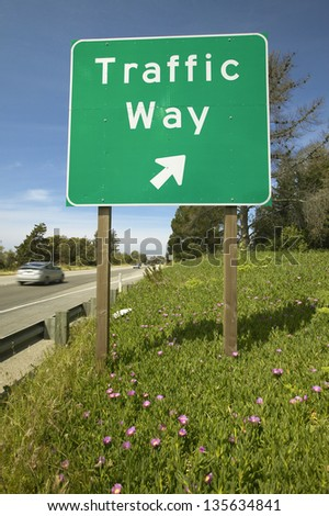 Traffic sign on Route 101 displaying 'Traffic Way' in Southern California