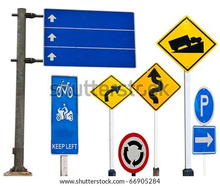 traffic sign over white background - stock photo