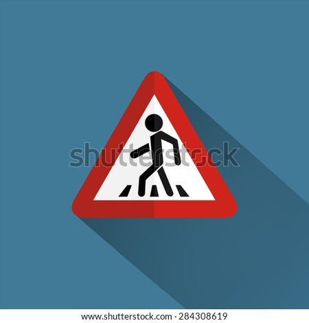 Traffic sign pedestrian crossing - stock photo