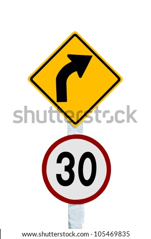 Traffic sign Pole display the speed limit. - stock photo