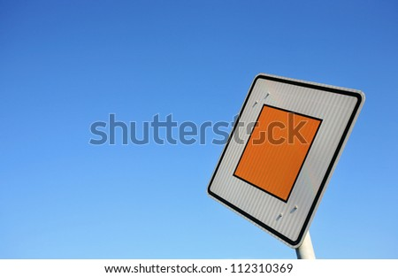Traffic sign priority road - stock photo
