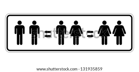 traffic sign representing couples of humans of different sexual orientation all equal to each other - stock photo