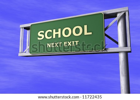 Traffic Sign - School - stock photo