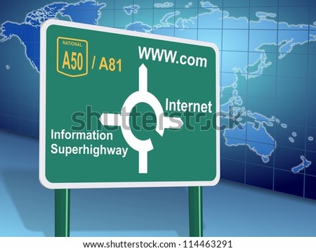 Traffic sign showing different internet related directions with world map in the background / Internet directions - stock photo