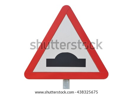 traffic sign speed bump isolated on white background - stock photo