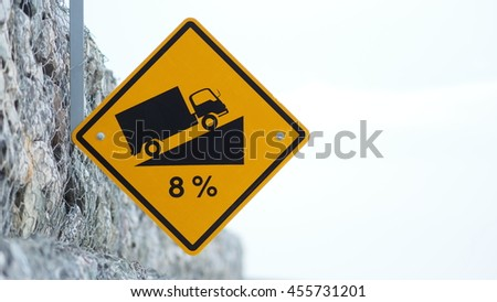 Traffic Sign, Steep Hill Ascent.