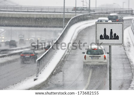 traffic sign that the city and winter busy traffic - stock photo