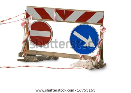 Traffic sign. The detour pointer. Red ribbons. A rough wooden frame. - stock photo