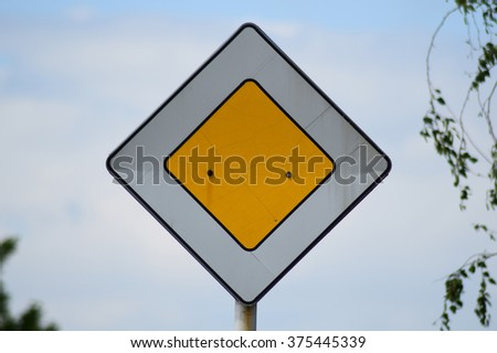Traffic sign the main road. Signs on the highway. - stock photo