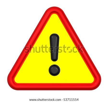 Traffic sign - traffic sign for attention. Computer generated 3D photo rendering. - stock photo