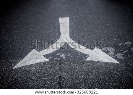 Traffic sign. Turn right or Turn left traffic sign, on road - stock photo