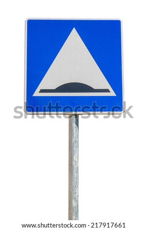 Traffic sign warning about a speed bump ahead on white background with clipping path - stock photo