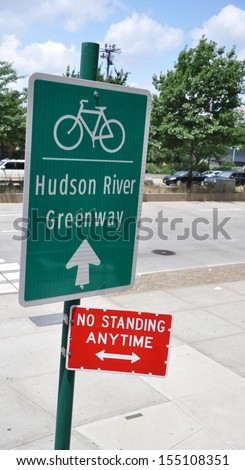 Traffic Sign West Side Highway Manhattan New York City USA - stock photo