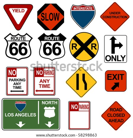 Traffic Signage Set - stock photo