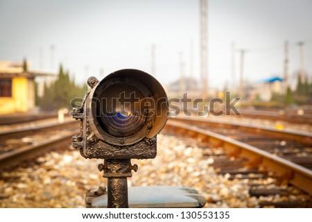 Traffic signal on railway - stock photo