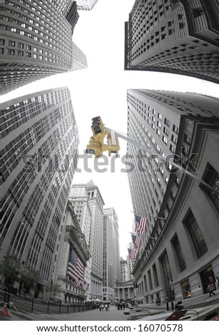 Traffic signal on Wall Street, NYC - stock photo