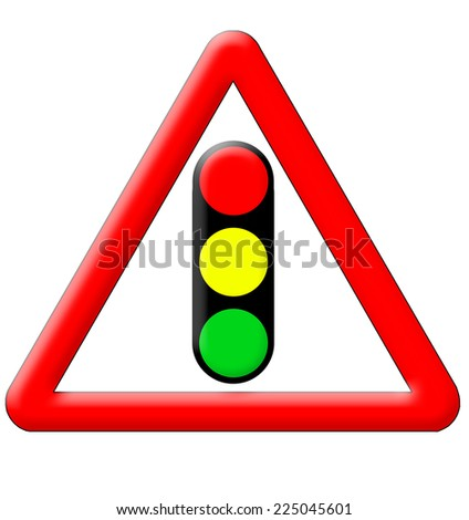 Traffic signal road sign isolated over white background - stock photo