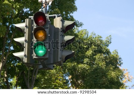 Traffic signal with green light and room to write - stock photo