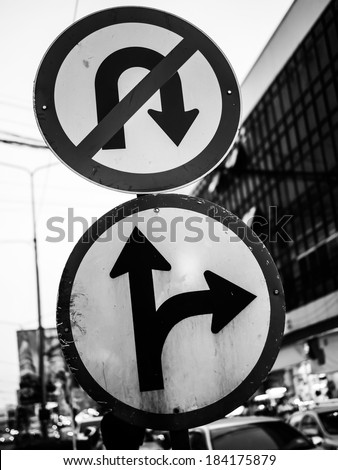 traffic signs forbid turn back and right tune split - stock photo
