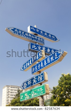 Traffic Signs in Beijing, China - stock photo