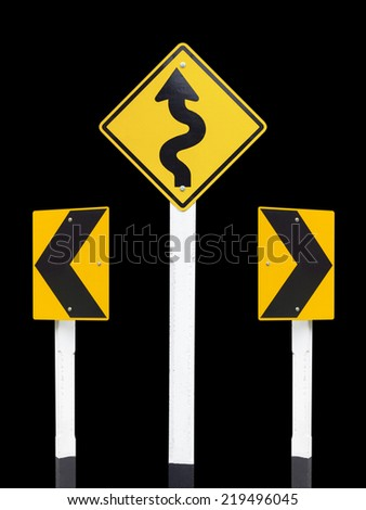 Traffic Signs on black background - stock photo