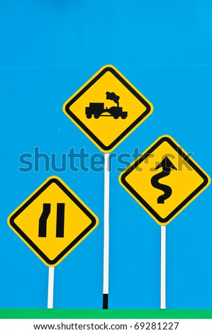 Traffic Signs on Blue Board