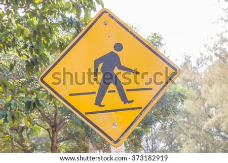 Traffic Signs : Pedestrian Crossing. - stock photo