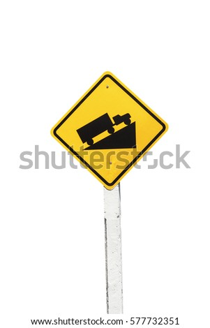Traffic Signs yellow board on white background isolated