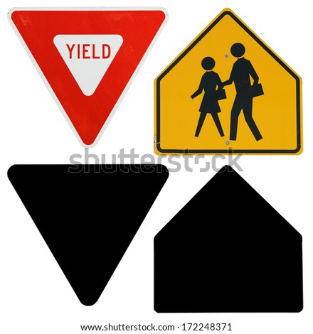 Traffic Signs: Yield and School Crossing with Alpha Channel - stock photo