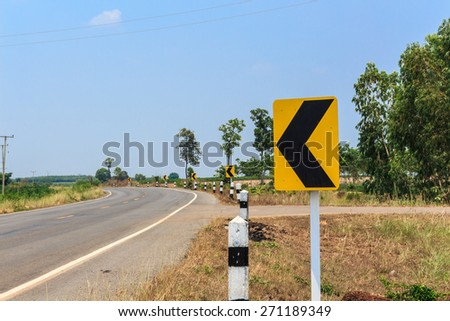 traffic singnals on rural road of Thailand. - stock photo