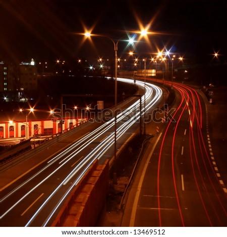 Traffic snarl at evening - long exposure - Liberec - Czech rep. - stock photo