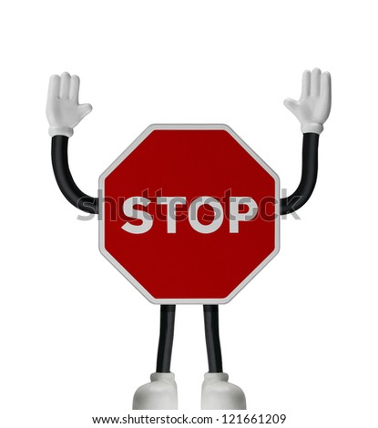 Traffic STOP sign with hands and feet over white background - stock photo
