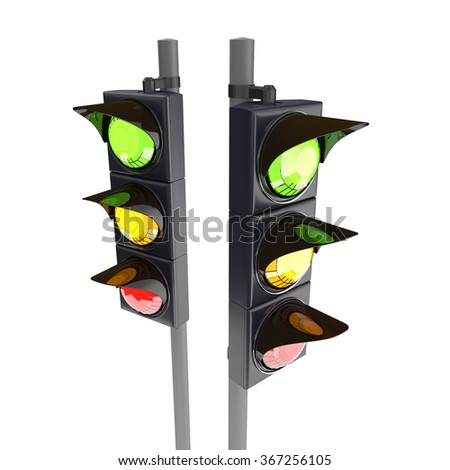 Traffic stoplight isolated on the white background. 3D traffic lights. - stock photo
