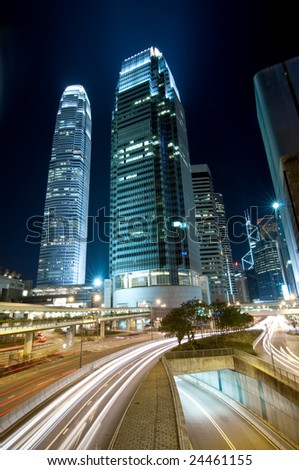 Traffic Through Downtown in HK - stock photo